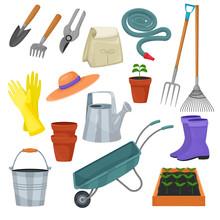 Garden Tool Vector Gardening Equipment Rake Or Shovel And Lawnmower Of Gardener Farm Collection Or Farming Set Illustration Isolated On White Background