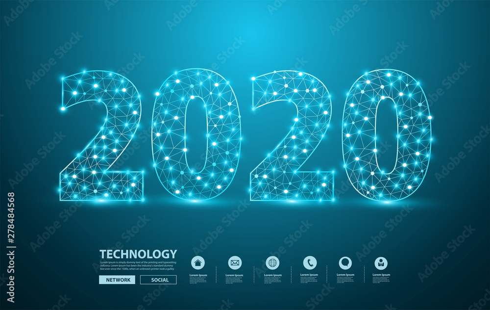 Fototapeta 2020 new year text design with mesh stylish alphabet letters numbers, Graphic background communication structure with connected dots lines, Vector illustration