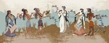 Minoan Civilization. Ancient Greece Frescos. Ancient Crete. Hera