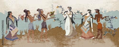 Minoan civilization. Ancient Greece frescos. Ancient Crete. Hera Canvas Print