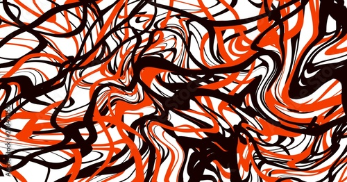 Abstract art expressionism paint brush fluid lines with red black white colors Canvas Print