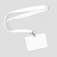 Lanyard With Id Card. Vector Illustration Isolated On White Background. Ready Template To Use For For Presentations, Conferences, Design. EPS10.