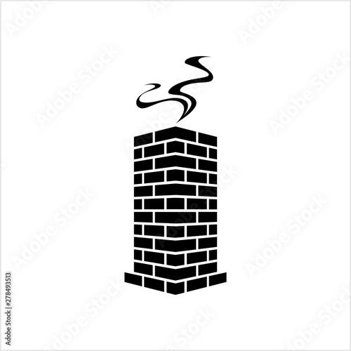 Obraz na plátně Brick Chimney Icon Design With Snow And Smoke