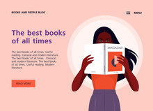 An African Woman Holds Magazine In Her Hands. Website Template About Books, Literature And Reading. Libraries And Bookstores. Vector Flat Illustration