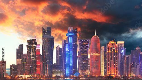 Vászonkép  Skyline of Qatar city, Doha