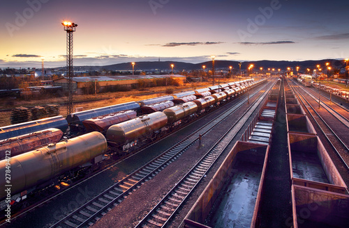 Fotomural  Railway station freight trains, Cargo transport