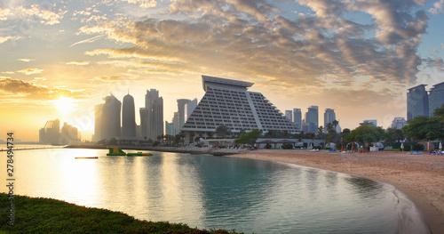 Obraz na plátně  Doha city skyline city center after sunset, Qatar