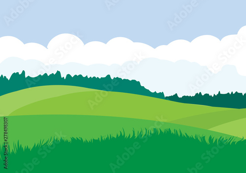 Green landscape with yellow fields. Lovely rural nature. Unlimited space. Vector illustration.