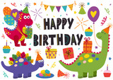 Fototapeta Dinusie - set of isolated cute dinosaurs for Happy Birthday design - vector illustration, eps