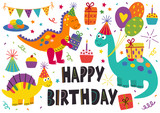 Fototapeta Dinusie - set of isolated cute dinosaurs Happy Birthday - vector illustration, eps
