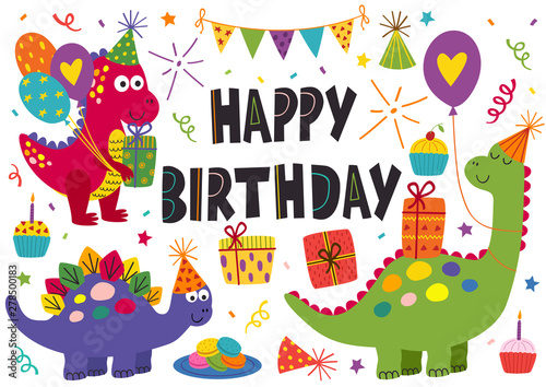 set of isolated cute dinosaurs for Happy Birthday design - vector illustration, eps