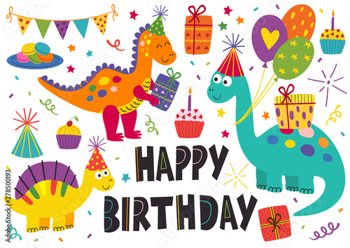 Photo  set of isolated cute dinosaurs Happy Birthday - vector illustration, eps