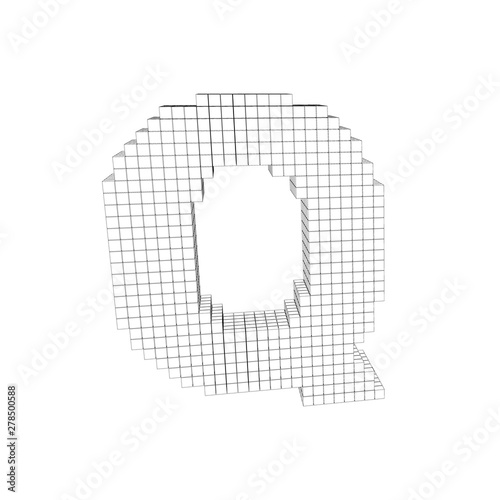 3d pixelated capital letter Q  Vector outline illustration