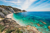 Italy, island of Elba panoramic view of beautiful beach, called Sansone, Tuscany.