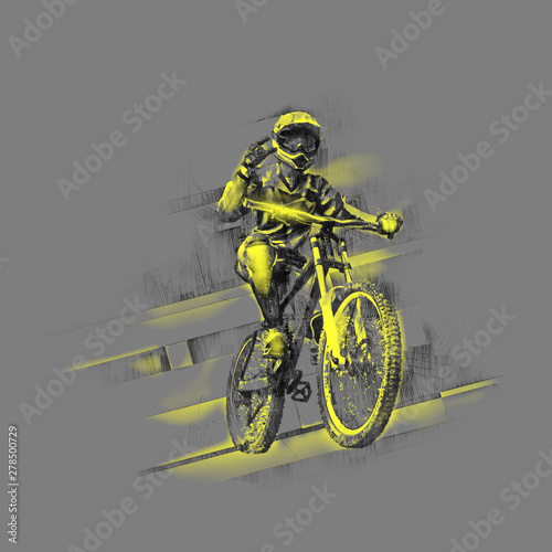 Canvas-taulu Black pencil drawing of a cyclist on a downhill bike with a yellow drawing on a gray background