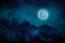 Blue Full Moon In City Abandon...