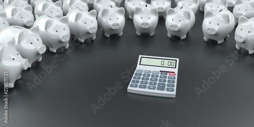Deurstickers Graffiti collage White Piggy Banks Calculator