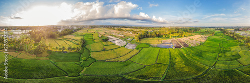 Autocollant pour porte Les champs de riz Rice Terrace Aerial Shot. Image of beautiful terrace rice field