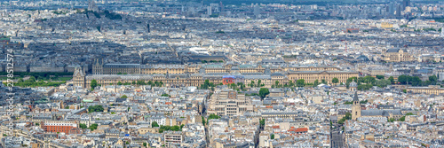 Aerial panoramic scenic view of Paris with the Louvre museum, France and Europe Fototapet