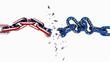 brexit european union england chain break breaking - 3d rendeering