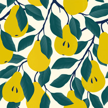 Seamless Pattern With Yellow Pear. Fruit Background. Vector Print For Fabric And Wallpaper.