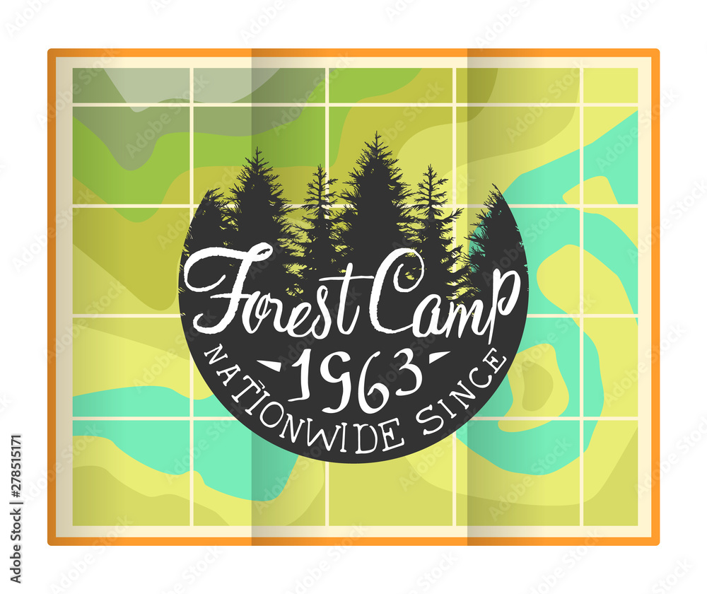 Fototapety, obrazy: Forest Camp Banner Template, Retro Hand Drawn Travel Badge Vector Illustration