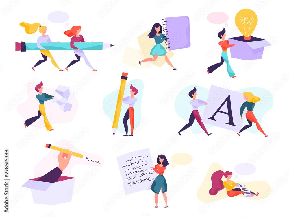 Fototapety, obrazy: Copywriter concept set. Idea of writing texts, creativity