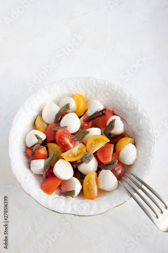 Valokuvatapetti Caprice Salad in a white plate on a white stone plaster table