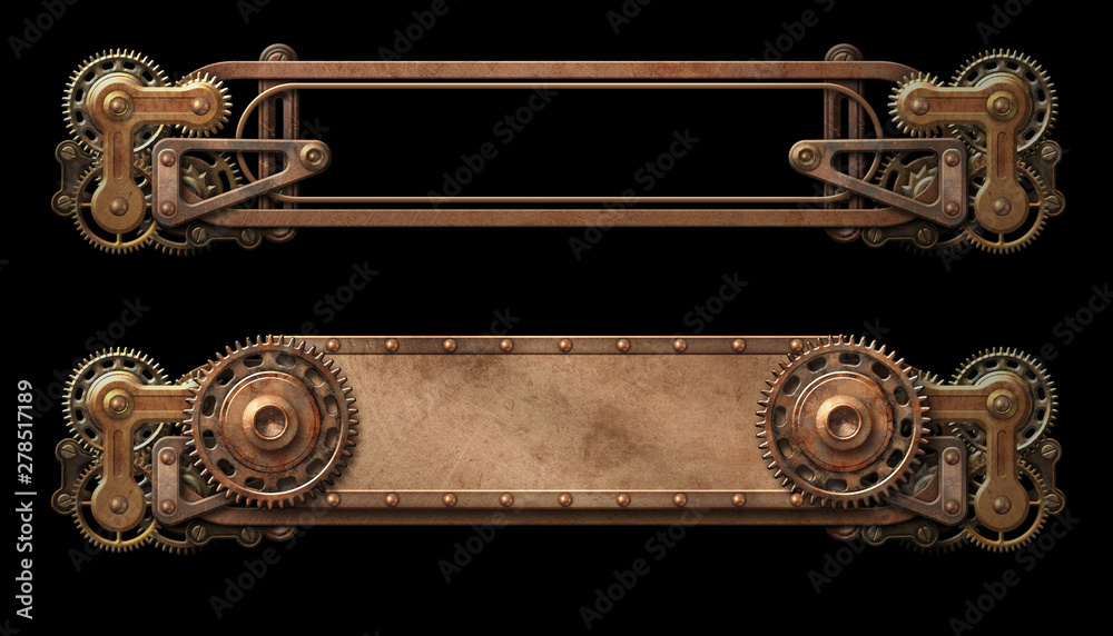 Steampunk aged copper banners