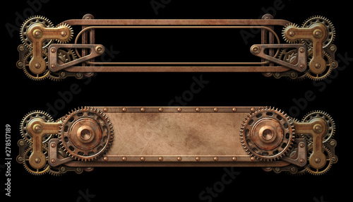 Steampunk aged copper banners Wallpaper Mural