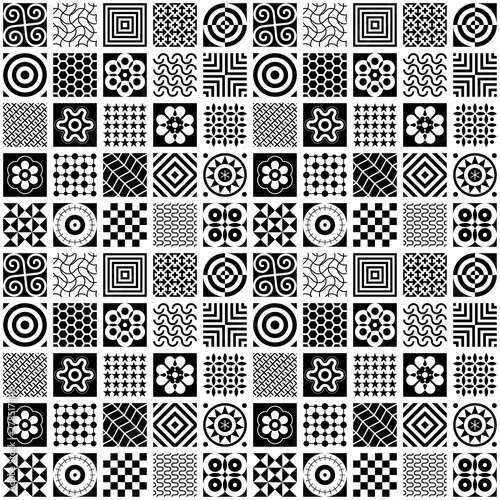 Deurstickers Abstractie Art Black and White Seamless Background