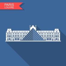 Louvre In Paris Vector Flat Ic...