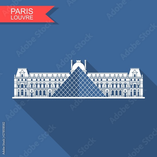 Louvre in Paris vector flat icon with shadow Poster Mural XXL