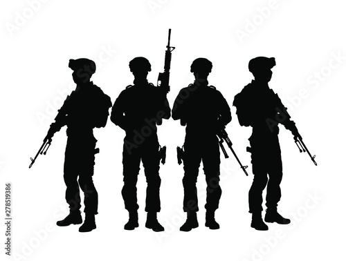 Fotografía  Army soldiers with sniper rifle on duty vector silhouette (Memorial day, Veteran's day, 4th of July, Independence day ) Soldier keeps the watch, on the guard