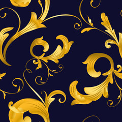 Vintage baroque gold floral elegance pattern vector illustration