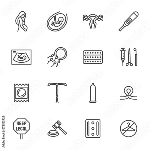 Photo Obstetrics clinic flat line icons set