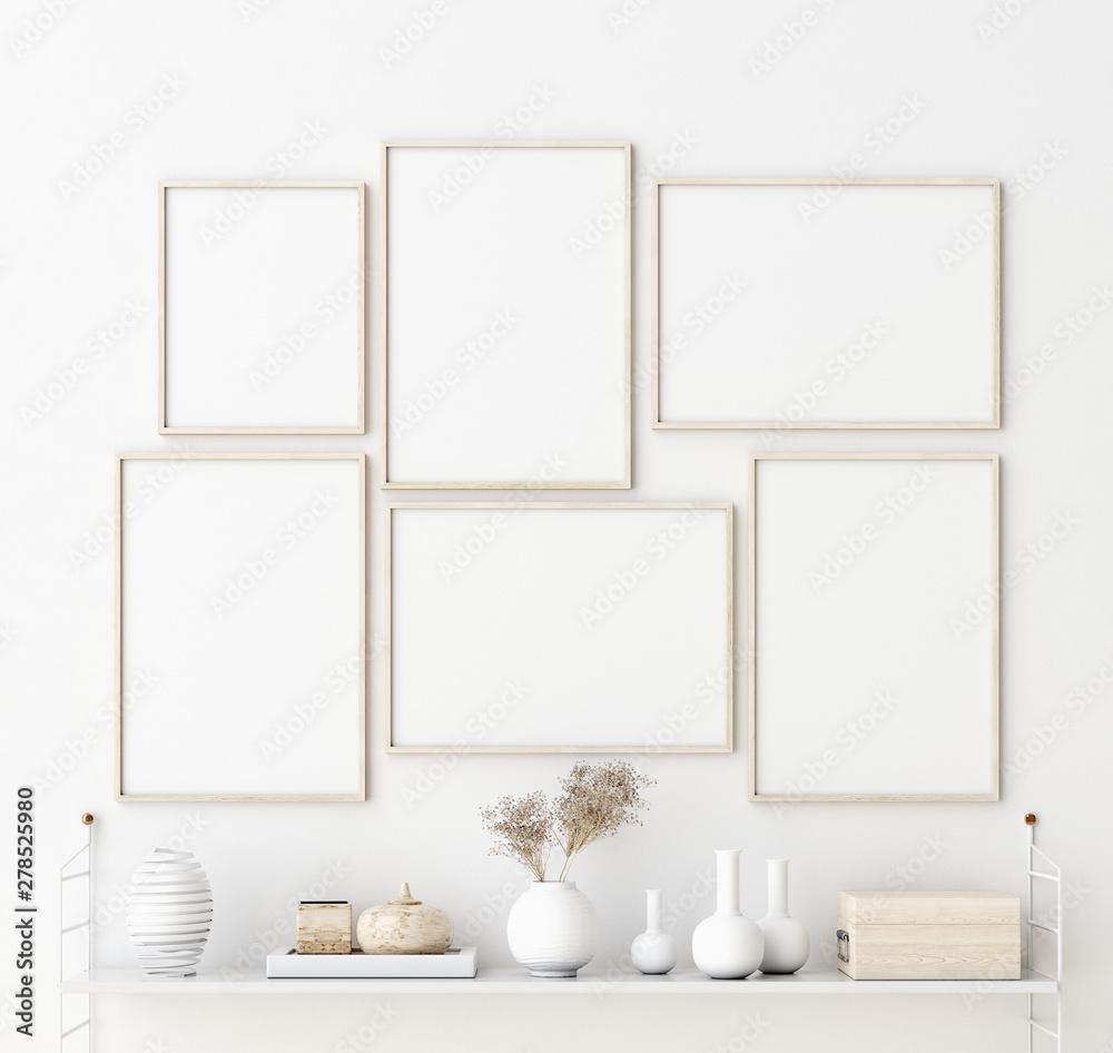 Makiety ramki plakatowej we wnętrzu salonu. Wnętrze w stylu skandynawskim. Renderowania 3d