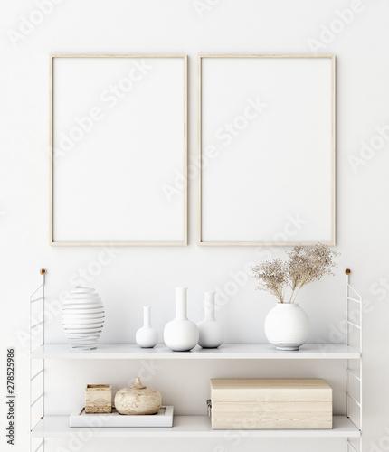 Fototapeta Mock up poster frame in living room interior. Interior Scandinavian style. 3d render obraz na płótnie