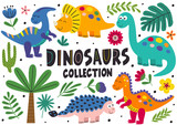Fototapeta Dinusie - set of isolated cute dinosaurs part 2  - vector illustration, eps