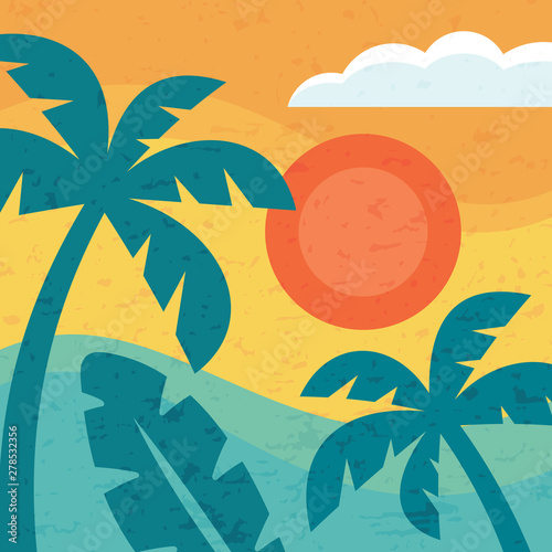Summer vacation paradise - concept background for banner, poster, brochure, presentation. Vector illustration graphic design. Tropical nature creative decorative layout in vintage minimal style.