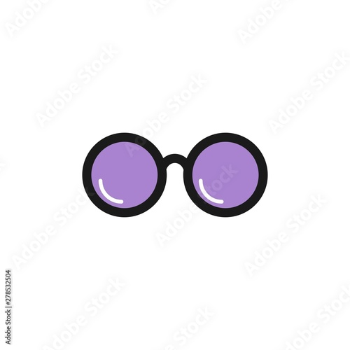 Purple round flat Hipster Glasses icon Fototapet