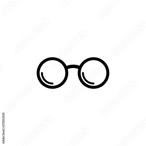 Fotografia, Obraz  Black round flat Hipster Glasses icon