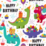 Fototapeta Dinusie - seamless pattern with cute dinosaurs Happy Birthday on white background - vector illustration, eps