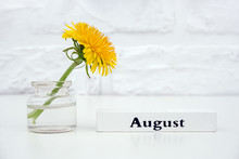 Wood Calendar Summer Month Aug...
