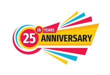 25th Birthday Banner Logo Design.  Twenty Five Years Anniversary Badge Emblem. Abstract Geometric Poster.