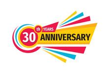 30th Birthday Banner Logo Design.  Thirty Years Anniversary Badge Emblem. Abstract Geometric Poster.