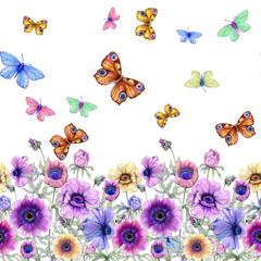 Fototapeta Kwiaty Beautiful colorful anemone flowers and flying butterflies with green leaves on white background. Seamless floral pattern, border. Watercolor painting. Hand painted illustration