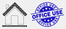 Pixelated Home Mosaic Pictogram And Office Use Seal. Blue Vector Rounded Textured Seal Stamp With Office Use Phrase. Vector Combination In Flat Style. Black Isolated Home Mosaic Of Scattered Dots,