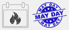 Pixel Hot Calendar Leaf Mosaic Pictogram And May Day Seal Stamp. Blue Vector Round Textured Seal Stamp With May Day Message. Vector Collage In Flat Style.