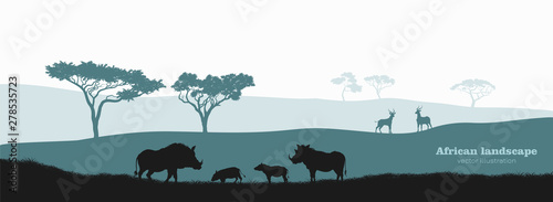 Black silhouette of african boar. Scenery with desert warthog family. Landscape with wild african animals. Scene of savannah wildlife. Travel poster of Africa